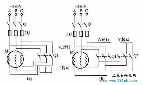 手动控制电动机手动星三角降压启动电路图