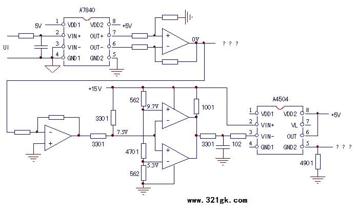 由两组比较器处理后,由a4504光耦的5脚送往后级电路.