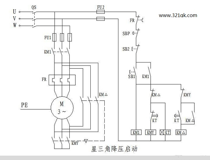 plc星-三角降压启动控制梯形图程序