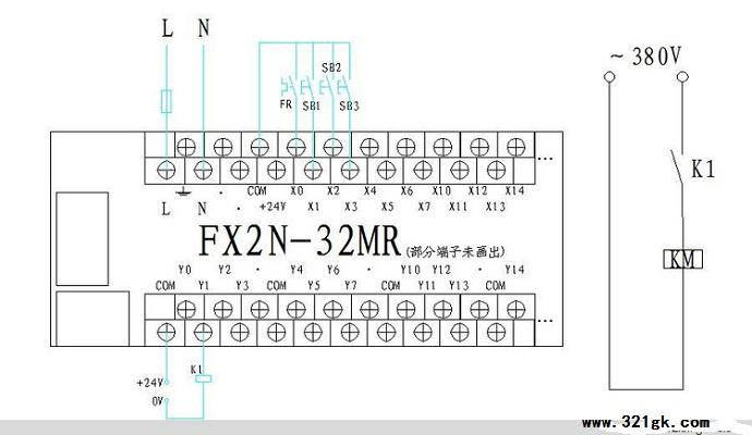 三菱fx2n系列plc点动+自锁控制编程实例
