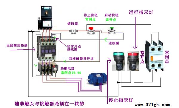 交流接触器热继电器接线图带指示灯实物图-穿过线圈