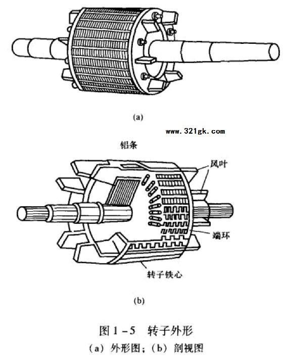 异步电动机的基本结构-笼型绕组其解剖图